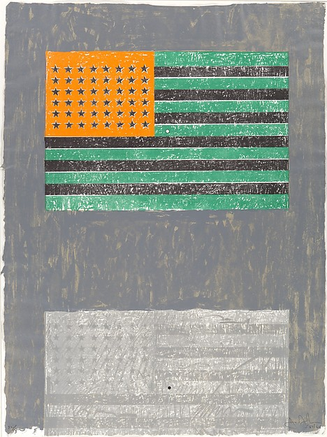 "Jasper Johns, ""Flags,"" lithograph with stamps (1968) Courtesy Metmuseum.org"